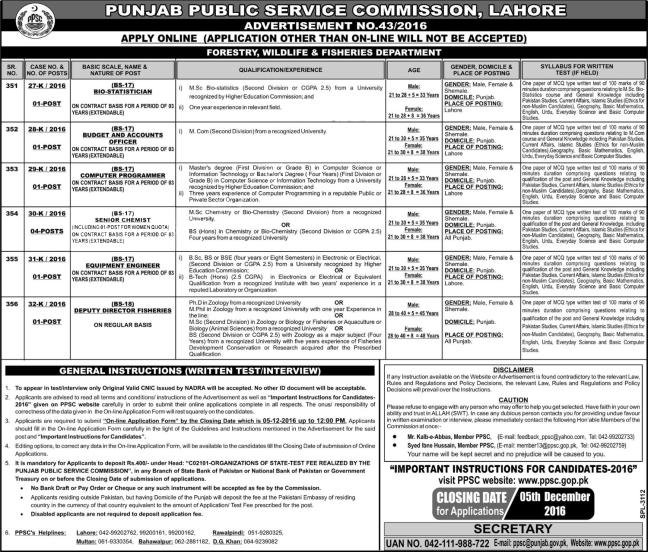 PPSC GOP PK Punjab Public Service Commission 43 / 2016